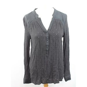 Lauren Conrad Eyelet Button V Neck Tunic Top
